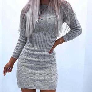 (3 for 30) Femme Luxe Cable Knitted sweater dress
